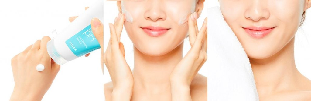 Применение Геля-молочко для снятия макияжа Cosrx Low-pH First Cleansing Milk Gel